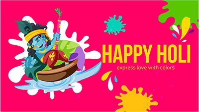 Happy Holi banner design Krishna playing with water gun