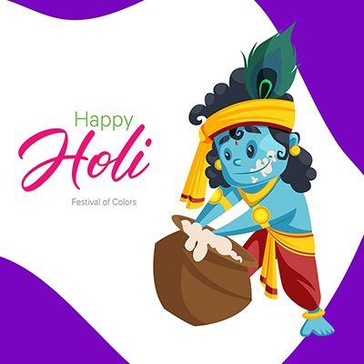 Banner design template of Holi festival with Lord Krishna
