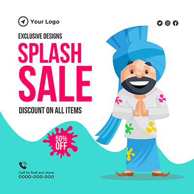 Banner design template of splash sale with discount
