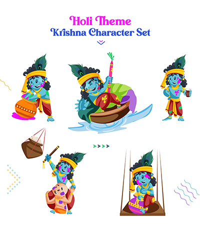 Colorful festival of Holi with Krishna Characters set-02 small