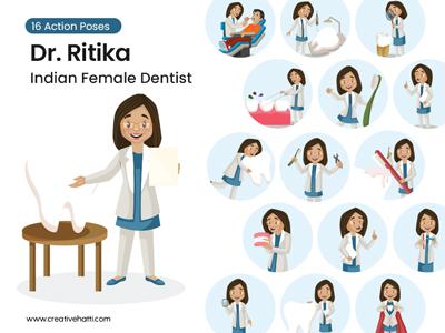 Indian Female Dentist Cartoon Vector Character Bundle