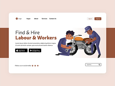 Flat labour and workers landing page template