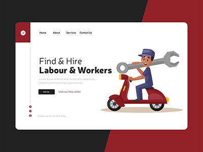 Flat labour and workers landing page template design