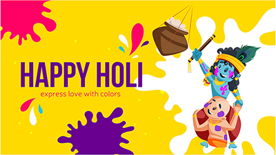 Happy Holi banner design template Krishna playing with friend