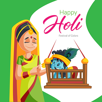 Happy Holi banner design with a lady and Lord Krishna-09 small