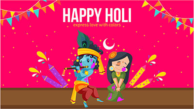 Express love with colors happy Holi banner design of Radha Krishna