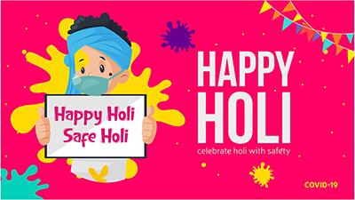 Happy Holi safe Holi social media banner design template
