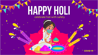 Happy Holi festival social media banner design with rangoli colors