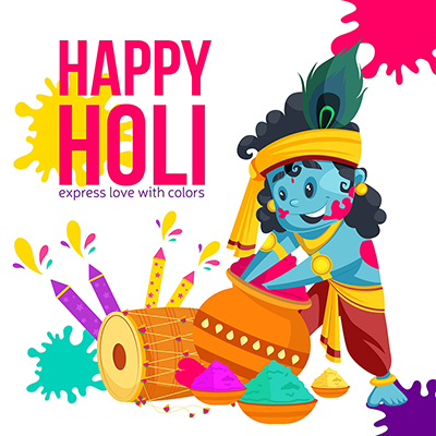 Holi festival banner design with Lord Krishna playing Holi