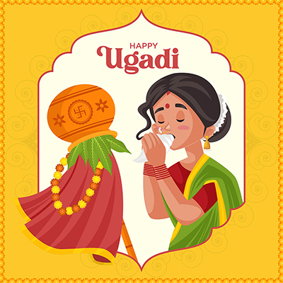 Indian New Year festival Ugadi Greeting Card Design-05 small