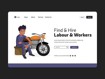 Labour and workers labour day landing page design