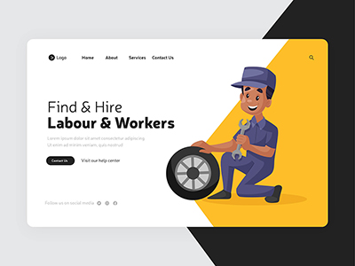 Labour and workers landing page design