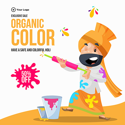 Organic colors for Holi festival banner design template