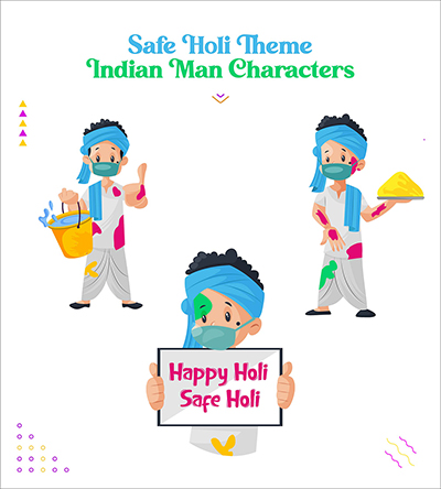 Safe Holi festival with Indian man character set-01 small