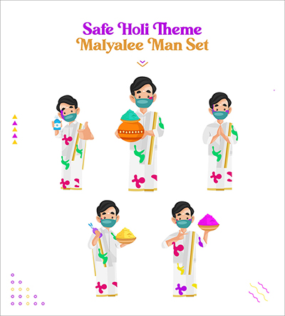 Safe Holi festival with Malayalee man characters set-03 small