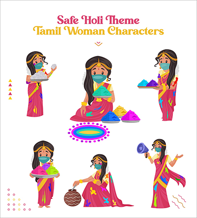 Safe Holi festival with Tamil woman characters set-07 small