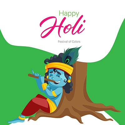 Social media banner design of Happy Holi with Lord Krishna playing flute