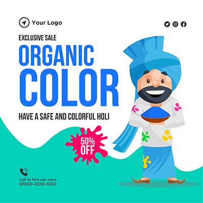Social media banner design of organic colors for Holi festival