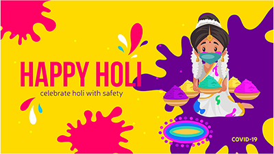 Celebrate Holi festival with safety banner design template