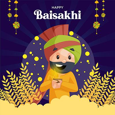Baisakhi festival celebration social media banner design