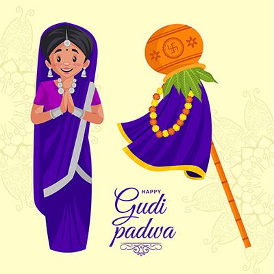 Banner Template Of Indian Hindu New Year Gudi Padwa Festival