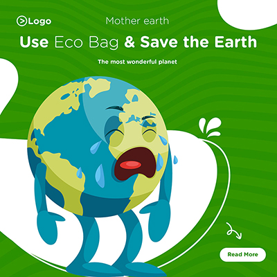 Banner design of use the eco bag and save the earth