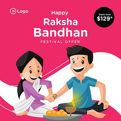 Banner design template of Raksha Bandhan Indian festival offer