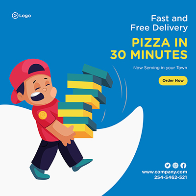 Banner design template of fast and free delivery pizza in 30 minutes-08 small