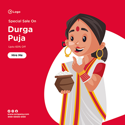 Banner design template of special sale on durga puja-05 small