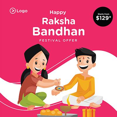 Banner template design of Raksha Bandhan Indian festival offer