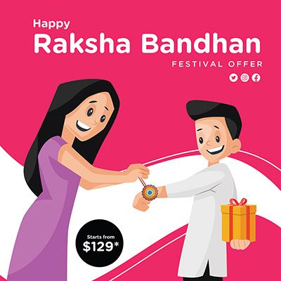 Banner template of Raksha Bandhan Indian festival offer