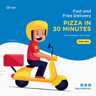 Banner template of fast and free delivery pizza in 30 minutes