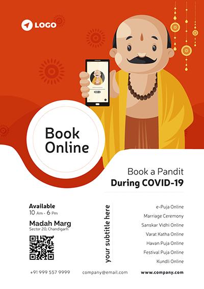Book Pandit For Online Consultation Flyer Design