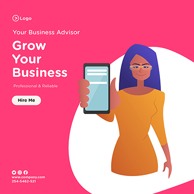Grow your business with your business advisor banner template design