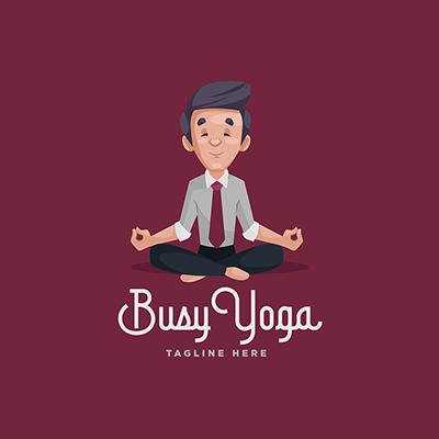 Busy Yoga Vector Mascot Logo Template-38 small