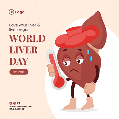 Care of liver with world liver day banner design template