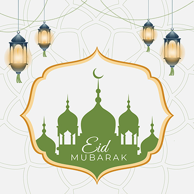 Celebration of the Muslim festival Eid Mubarak on a banner template design