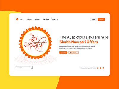 Chaitra Navratri the Indian festival landing page design template