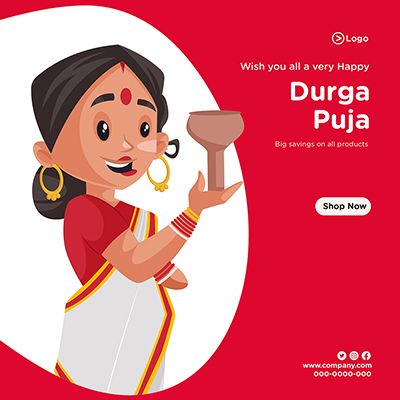 Durga puja banner design with big savings on all products