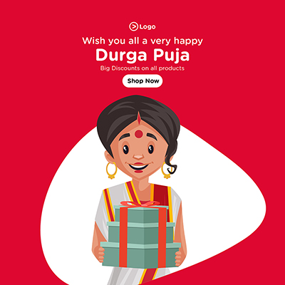 Durga puja banner template with big discounts on all products