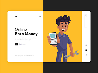 Earn money online design on the landing page