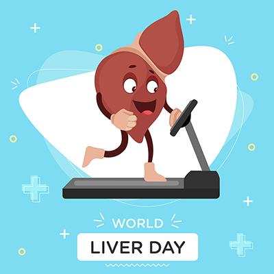 Exercise is more important for health on the world liver day banner