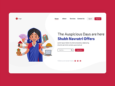 Festival of Navratri with offers on landing page design