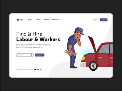 Find and hire labour International labor day illustration landing page