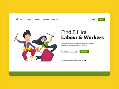 Find and hire labour workers the landing page design