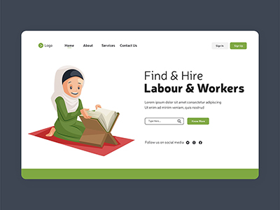 Find and hire labour workers labour day landing page design