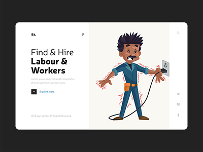 Find and hire labour workers on working labour day with landing page