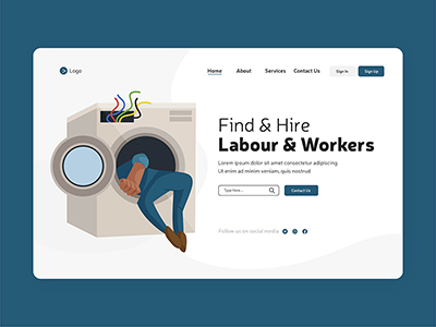 Find and hire labour workers with labour day landing page design