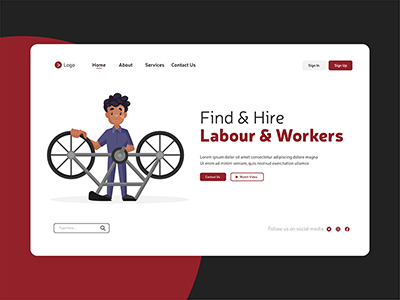 Find and hire labours and workers on labour day landing page design