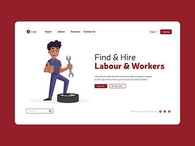 Find and hire with labour workers design on landing page